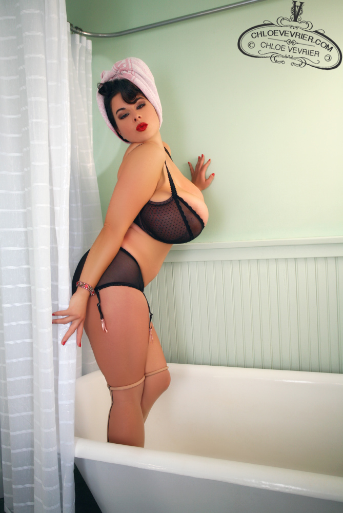 Chloe Vevrier Bath Tub Posing