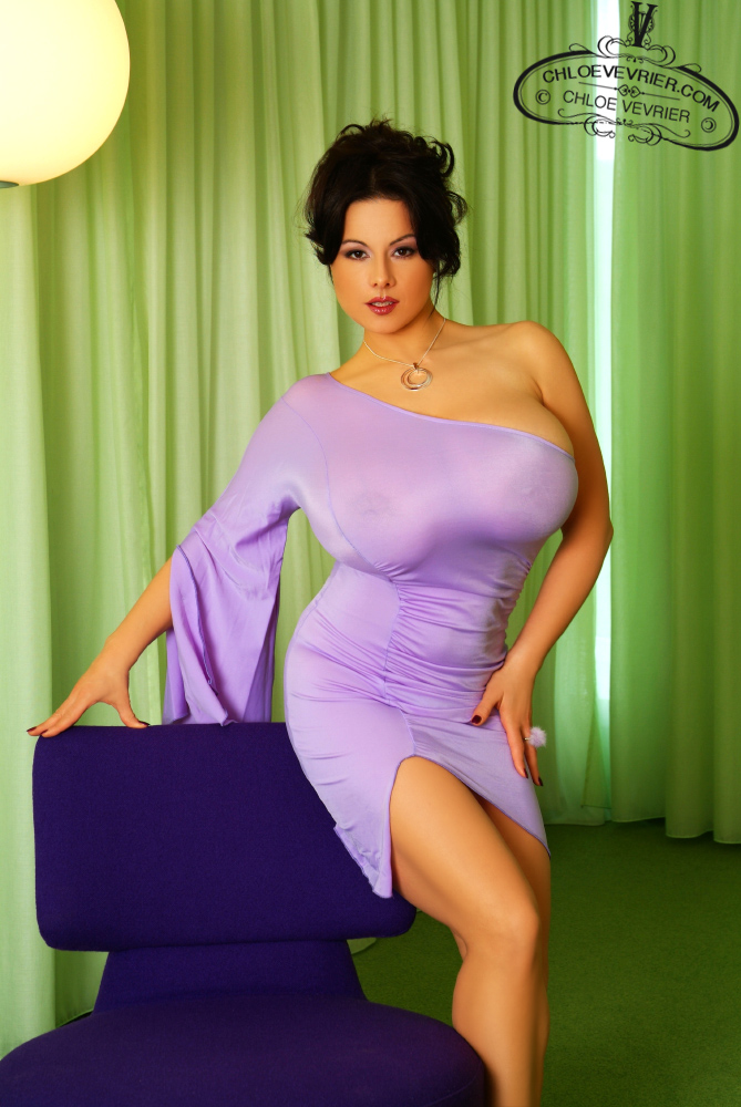 Chloe Vevrier Hot In Purple Dress