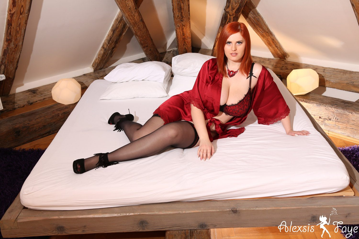 Alexsis Faye Red Robe and Lingerie Bedroom