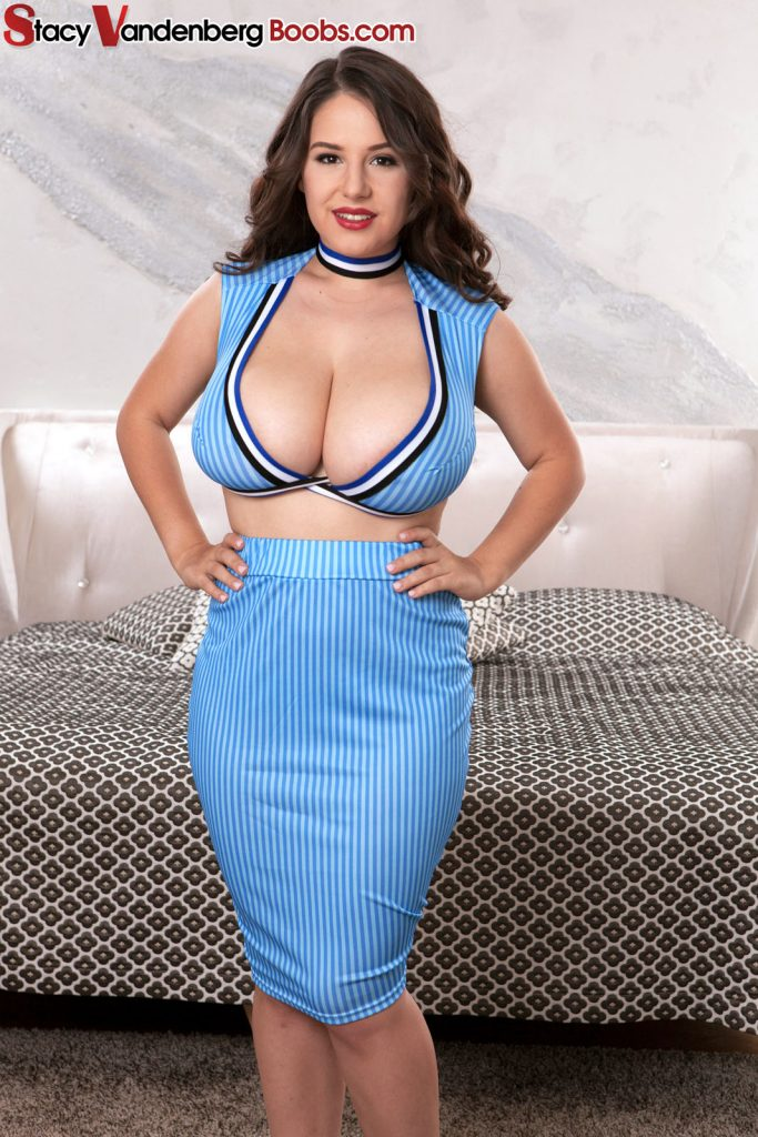 Perfect tits blue dress striptease