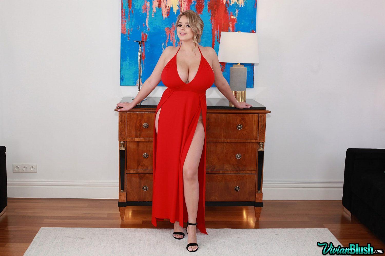 Vivian Blush Braless Red Dress